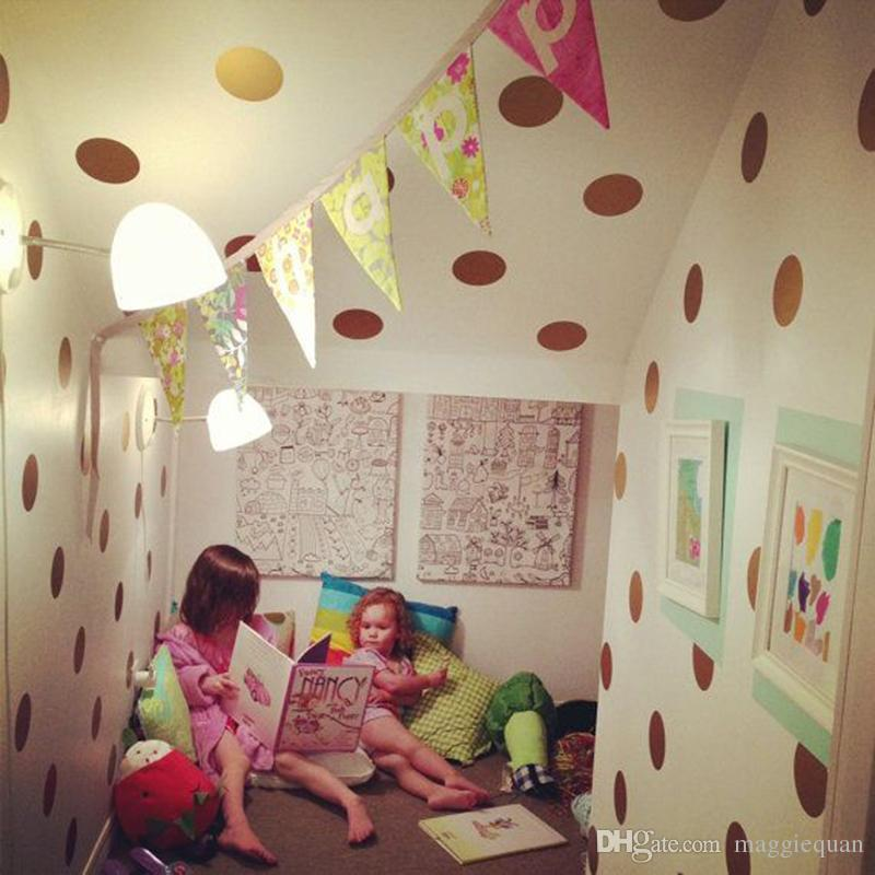 60 piece/lot Polka Dot Wall Stickers for Kids Room Vinyl Removable Wall Decals Children Nursery Decor Home Decoration Wall Art Eco-friendly