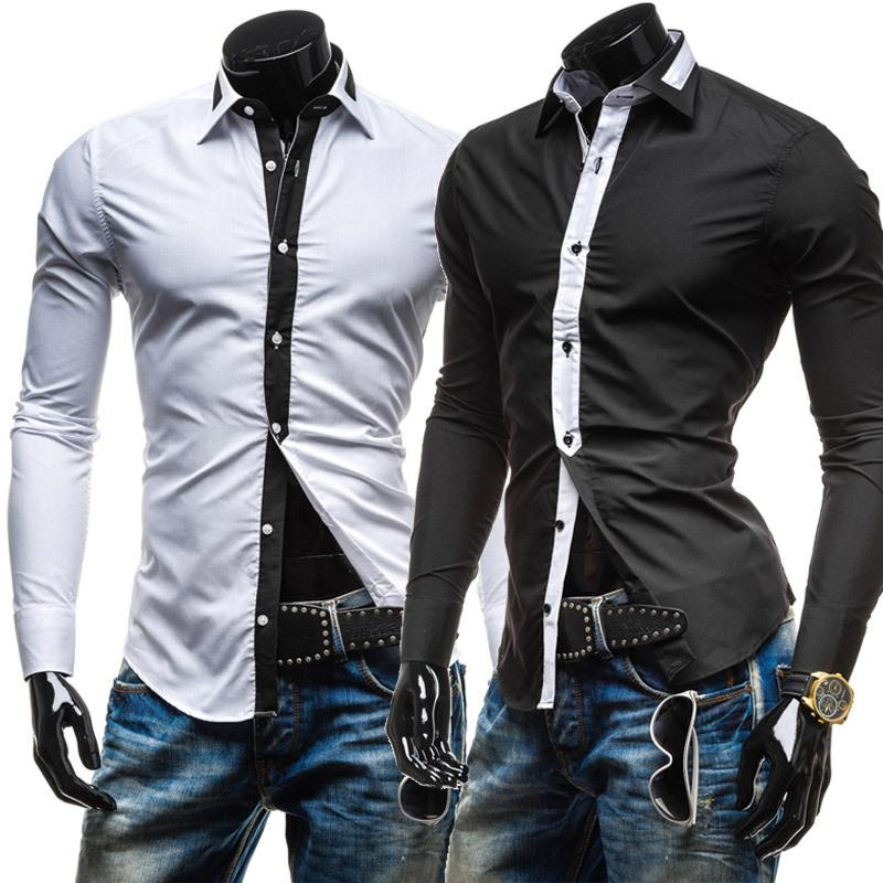 Wholesale- 2015 New Tie Decor Classic Black White Fashion Mens Dress Shirts Long sleeve Slim Fit Casual Social Camisas Masculinas M-XXL