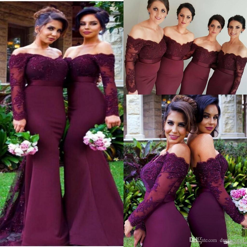 2019 Burgundy Maroon Beads Mermaid Bridesmaid Dresses Off Shoulder Long Sleeve Lace Applique Cheap Custom Made Bridesmaids Wedding Dress