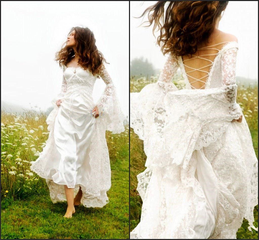 사용자 지정 만든 된 고딕 켈트 웨딩 드레스 2019 벨 슬리브 레이스 코르 셋 중세 신부 드레스