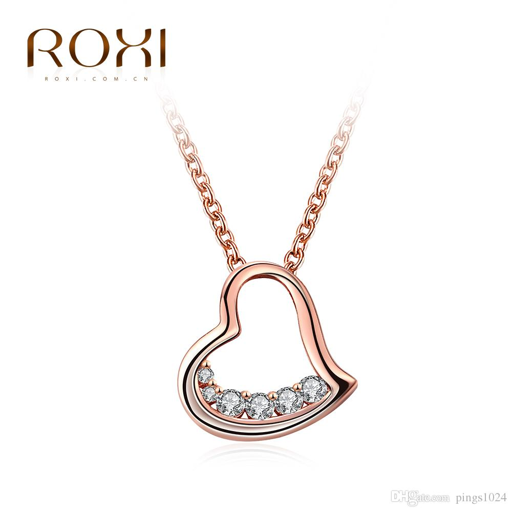 ROXI Brand Necklace For Women Rose Gold Color Heart-shaped Half-zircon Necklace Pendant Girls Jewelry Choker Cheristmas Gift