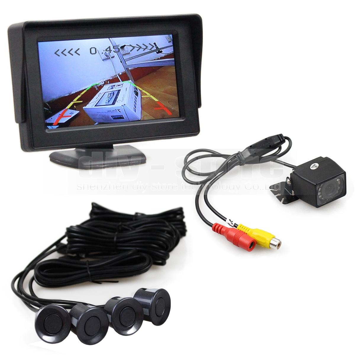 Video Parking Radar 4.3 Inch Rear View Car Monitor Kit + Parking Radar + IR Night Vision Car Camera Parking Assistance