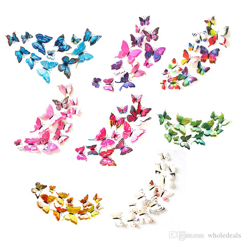 12 pcs 3D Butterfly Wall Stickers Home DIY Decor Wall Decals For Living Room, Bedroom, Kids Room
