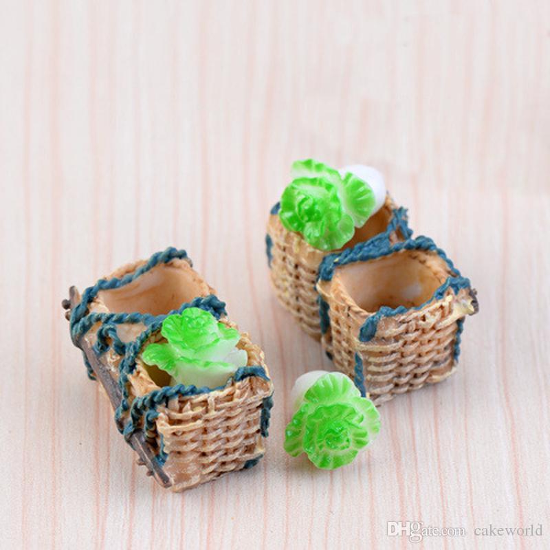 6pcs Rattan basket cabbage Fairy Garden Miniatures DIY Doll House Terrarium Micro Landscape Succulents Home Decoration
