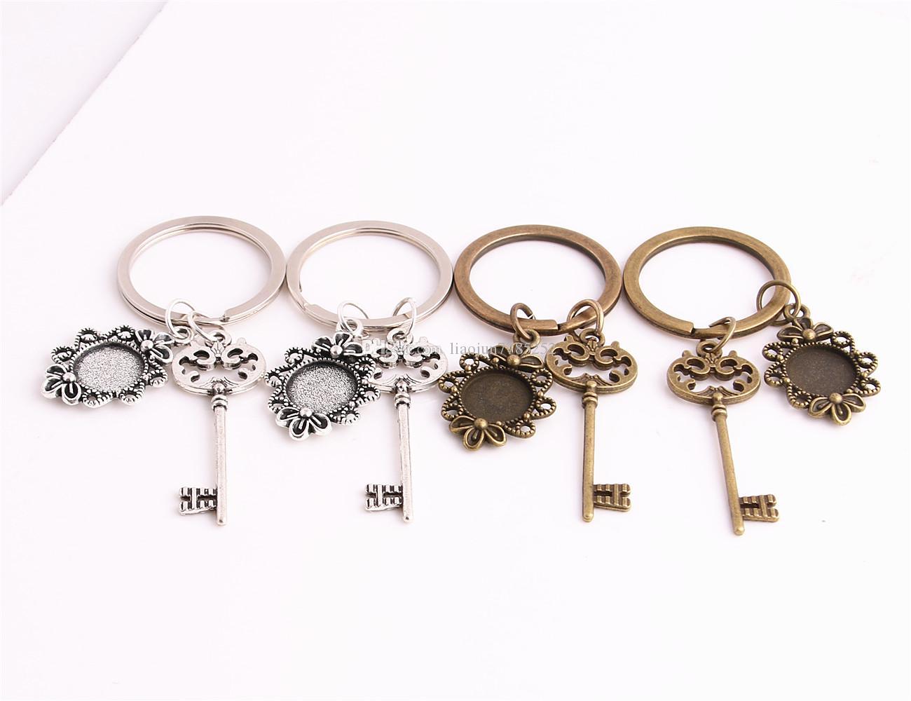 SWEET BELL 3pcs/lot Metal Alloy Zinc Key Chain Fit Round 12.5mm Cabochon Base Hollow Key Charm Pendant Jewelry Making C0903