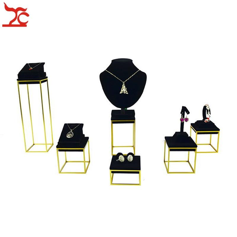 High End Stainless Steel Jewelry Display Rack Black Velvet Bangle Ring Pendant Earring Jewelry Organizer Display Holder Stand
