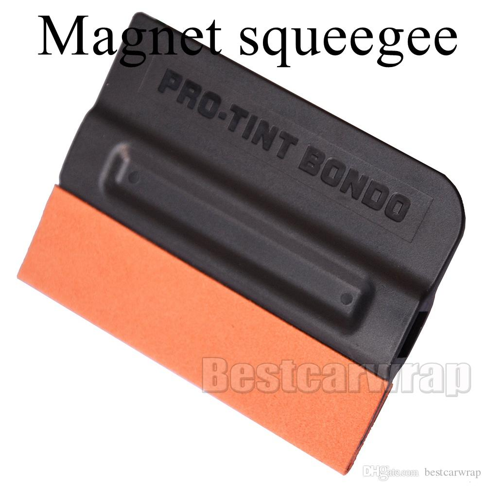 Pro Tint Bondo Squeegee Suede Edge MAGNETIC Decal Sticker Vinyl Car Wrap Applicator Tool With Magnets 100pcs / Lot