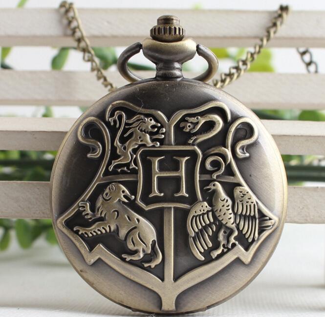 Cadena del suéter del collar del reloj de bolsillo de Steampunk de Magia y Hechicería Espía de oro de cuarzo Fob