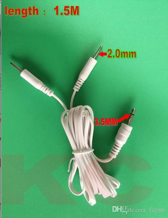 200PCs Straight Plug Round DC 3.5mm Byte av elektrodledningsledningar för TENS / EMS Machine 2-pin 2mm Tens Unit Cords 1,5m