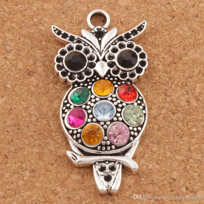 Colorful Crystal Owl Animal Charms 20pcs/lot Hot Antique Silver Pendants 22x47mm L1598 Jewelry Findings & Components LZsilver