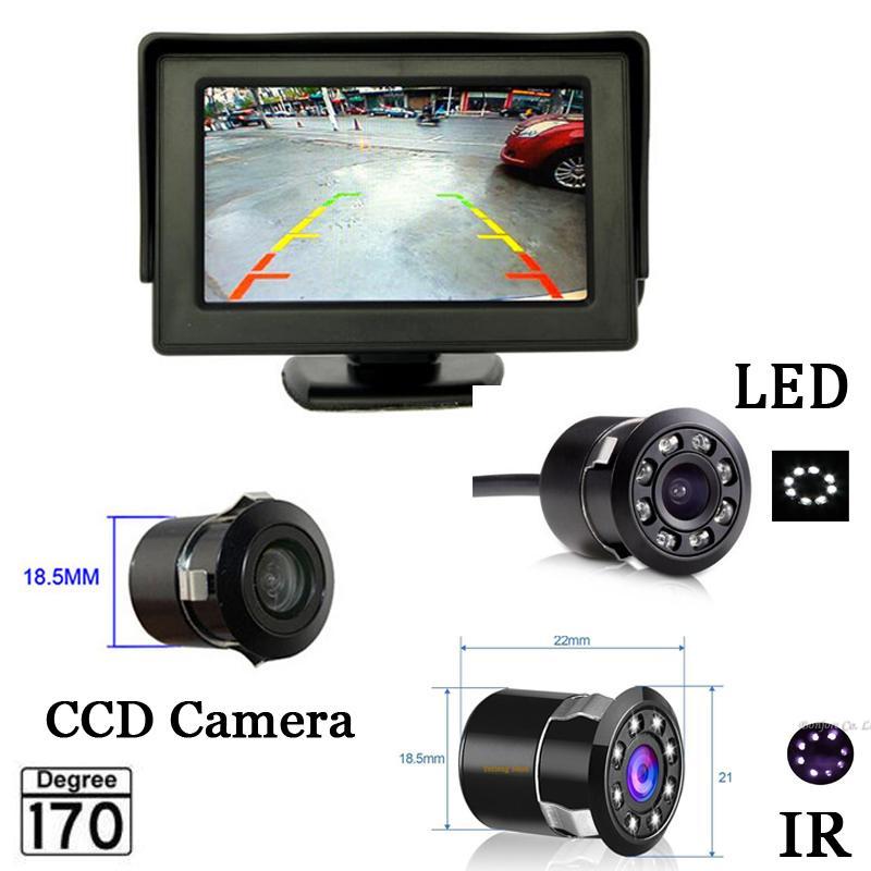 4.3 بوصة وقوف السيارات نظام HD سيارة مرآة الرؤية الخلفية مراقب مع 170 درجة للماء كاميرا الرؤية الخلفية 8 LED الأشعة تحت الحمراء ، شحن مجاني