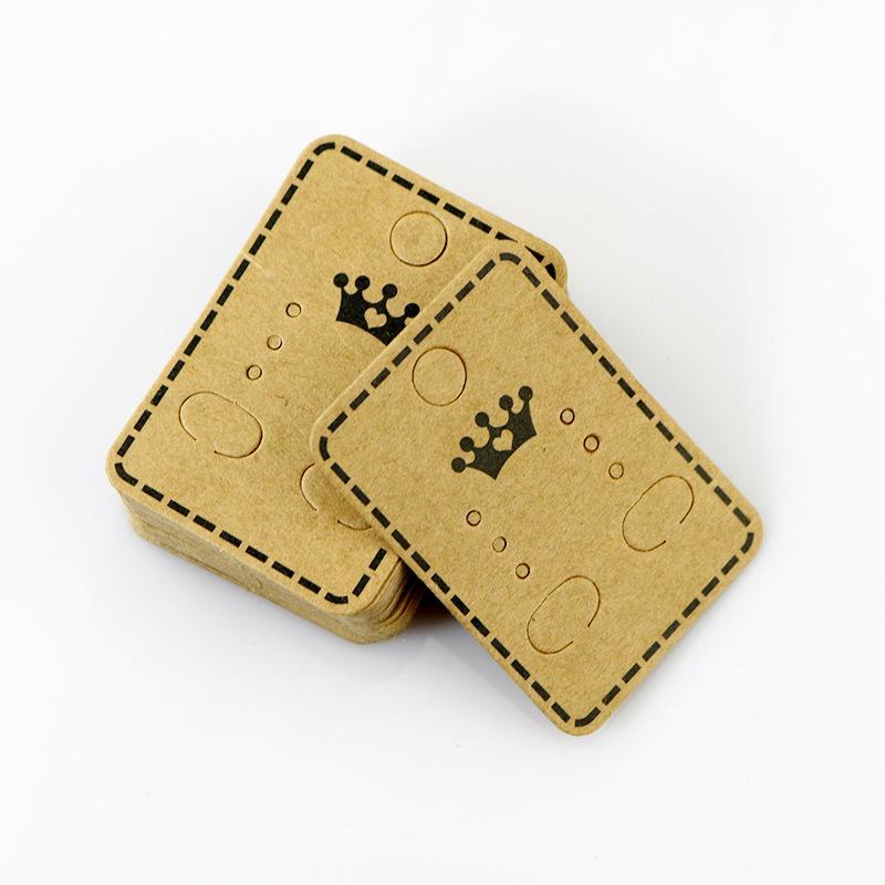 بطاقات هانغ 100PCS / LOT شحن مجاني 4.5 * 3.2CM ورق كرافت ولي حلق الأذن ترصيع شنقا حامل العرض