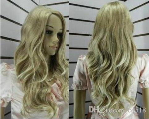 Livraison gratuite en gros vente chaude! COSPLAY nouvelle blonde longue perruque longue frisée bouclée