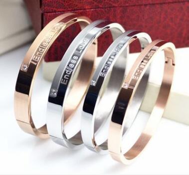 Avrupa ve Amerikan moda modelleri elmas titanyum çelik gül altın bilezik çift bilezikler sevgili çift