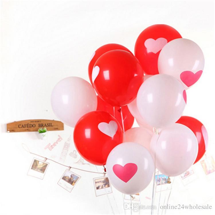 12 بوصة بالونات الترويج! أبيض أحمر جميل جولة القلب بالونات الزفاف عيد ميلاد الزفاف الديكور الزواج بالونات اللاتكس ballute