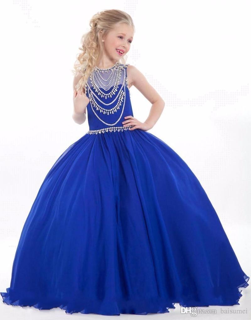 großhandel edle royal blue perlen strass blumenmädchen kleid elegant  ballkleid kinder kleid erstkommunion kleider größe anpassung von baisumei,  79,34