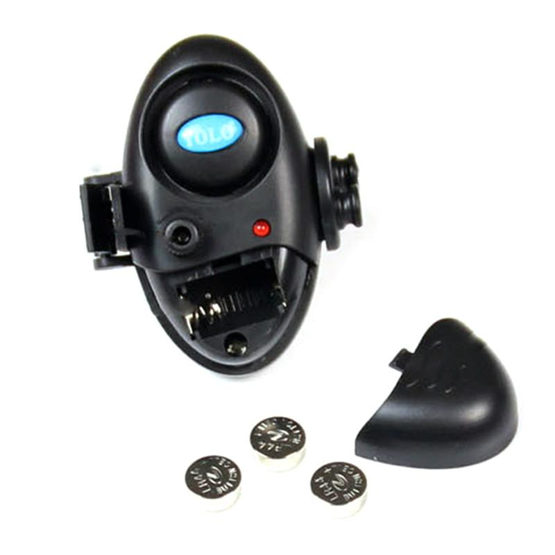 Fishing Electronic LED Light Fish Bite Sound Alarm Bell Clip On Fishing Rod Black Tackle