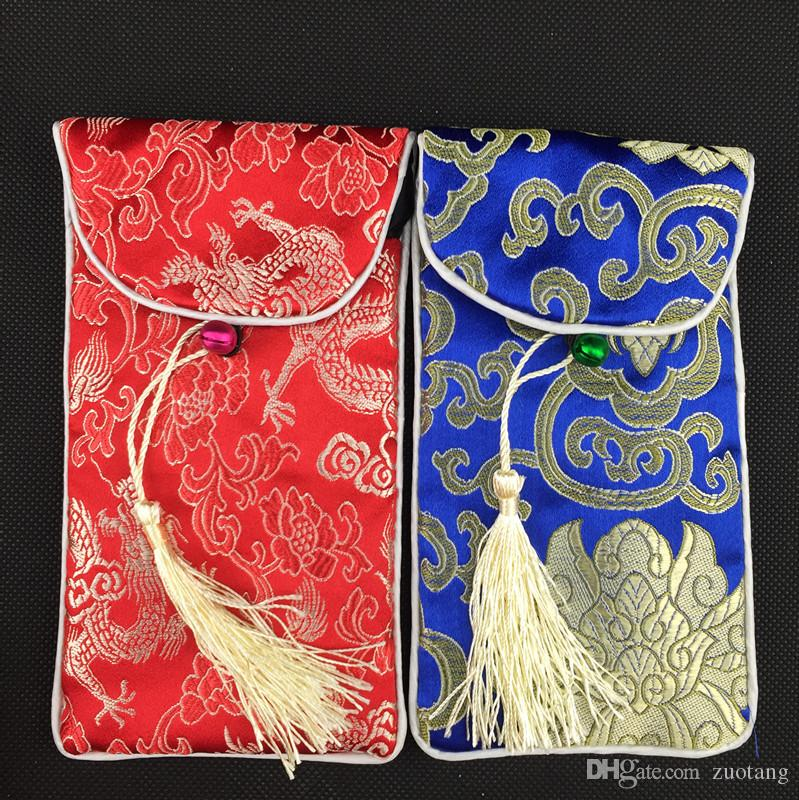 Neck Rope Ladies Universal Cell Phone Bag Cover Glasses Jewelry Pouch Tassel clamshell Chinese Silk Brocade Gift Bag Eyeglass Pouch 10pcs/lo