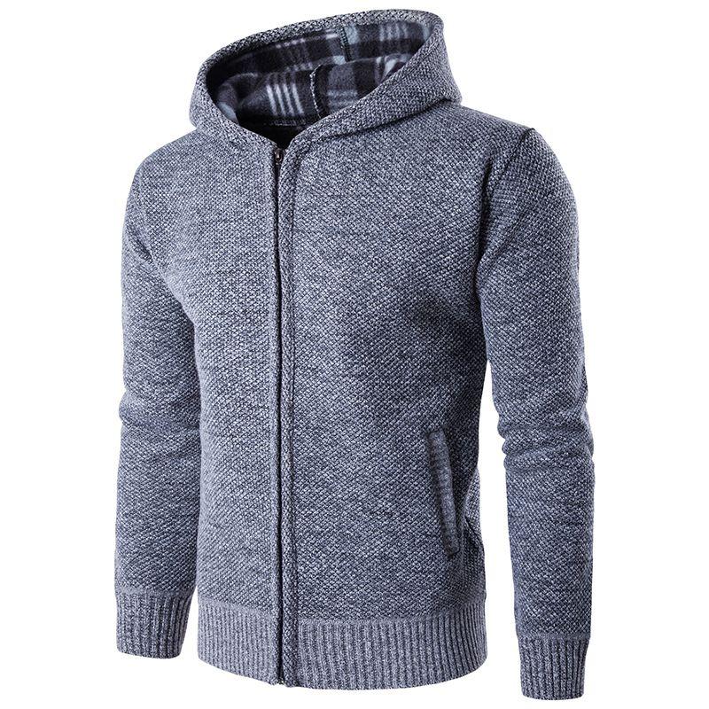 Outono / inverno dos homens quente camisola de malha dos homens jovens de moletom com capuz e capuz malhas esporte jaqueta esporte para correr