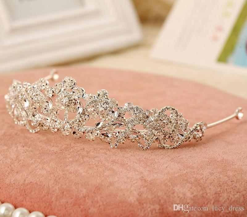 Free Shipping Rhinestone Crystal Wedding Party Prom Homecoming Crowns Band Princess Bridal Tiaras Hair Accessories Fashion