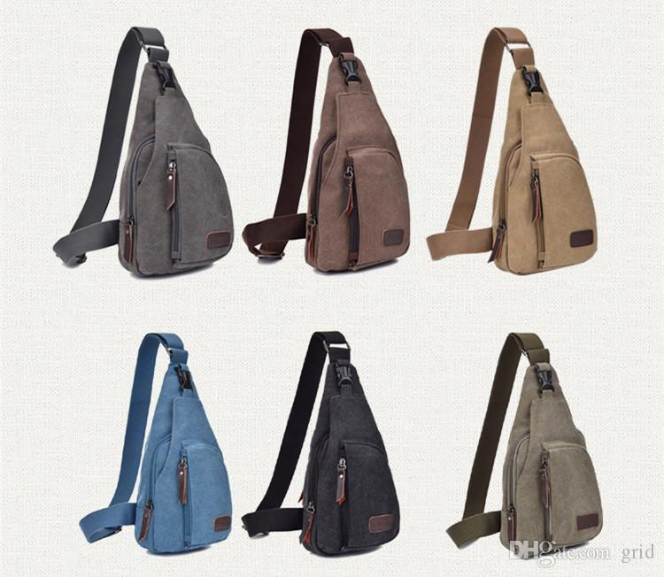 100PCS Men Small Chest Canvas Bags Vintage Man Messenger Bags For Waist Chest Casual Outdoor Hiking Sport Casual Male Retro Shoulder Bag