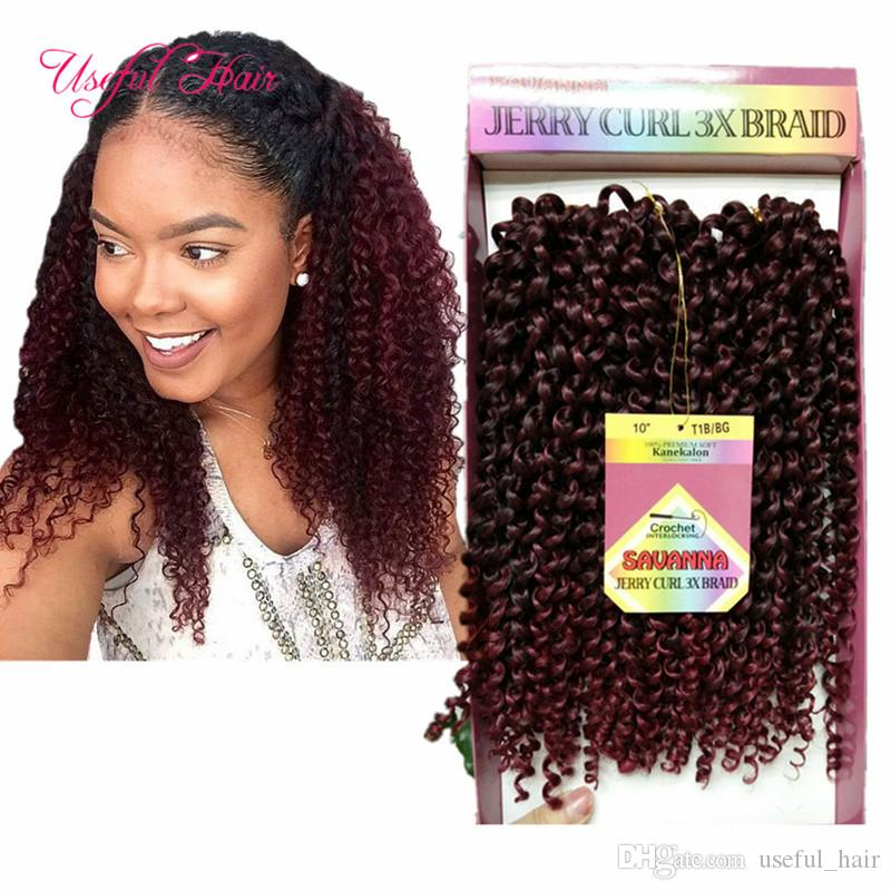 SAVANA crochet curly twist 3pcs/pack kinky curly 2017 Free tress ombre bug jerry curly 10inch synthetic braiding hair freetress marley