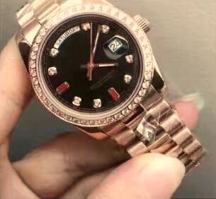 Moda Rose Gold Ze Stali Nierdzewnej Day-Date Black Dial President Diament Bezel Automatyczne Luksusowe Mężczyźni Zegarek Męski Zegarek Biznesowy