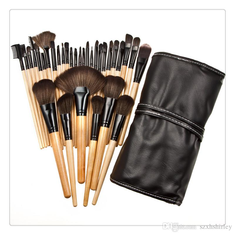 32PCS Cosmetic Facial Make up Brush Kit Professional Wool Makeup Brushes Tools Set with Black Leather Case Makeup Brush Cosmetic Set Kit Top