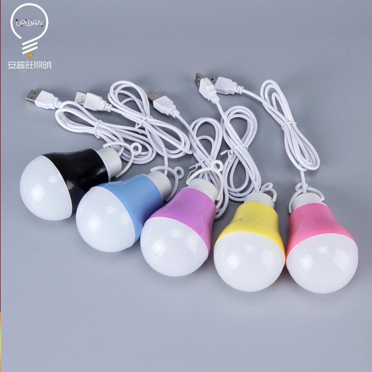 Kolorowa żarówka LED, mini ładowarka, interfejs USB, lampa żarówki, przenośna lampa uliczna, 5V niskiego napięcia energooszczędna żarówka