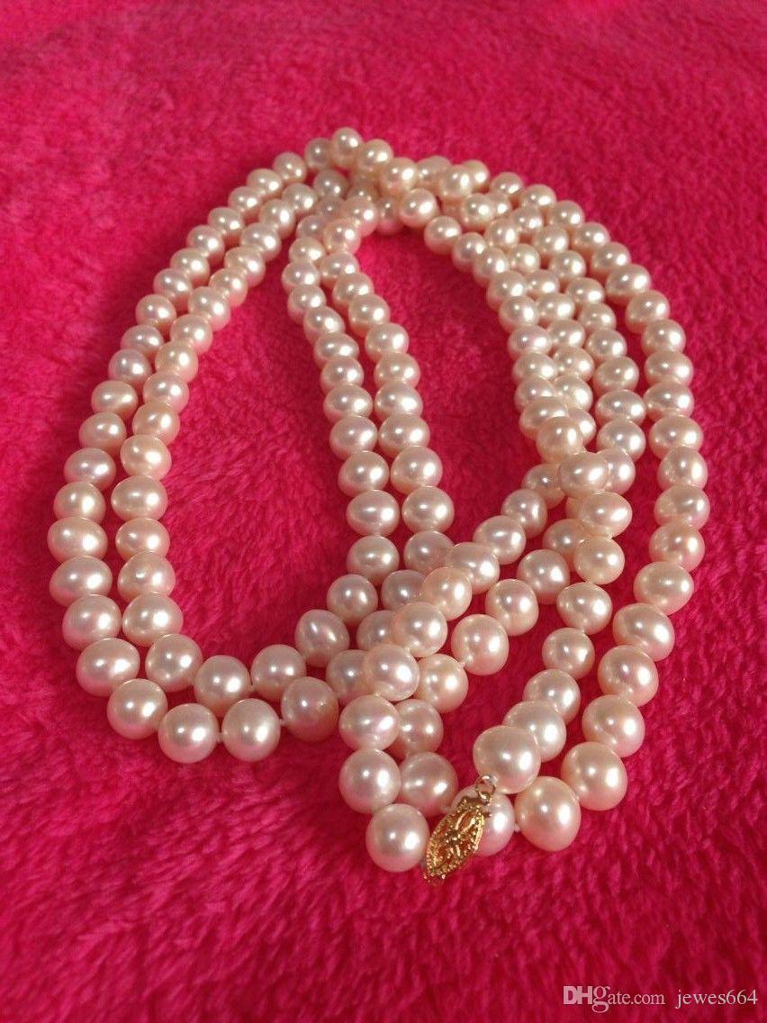 envío gratis 8-9mm natural mares del sur blanco collar de perlas de 32 pulgadas
