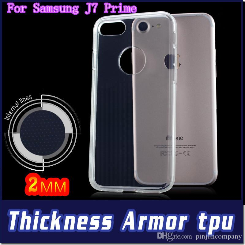 Samsung galxy J2 J7 Prime J710 S7 S6 kenar 2MM Kalınlığı Zırh Şeffaf Yumuşak TPU telefonu Koruyucu kılıf kapak perakende ambalaj için