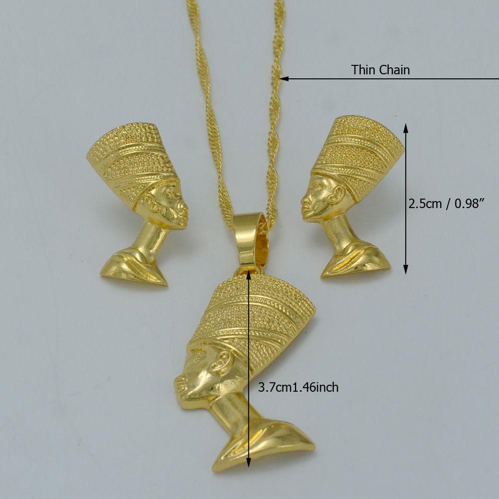 Anniyo Mısır Kraliçesi Nefertiti Kolye Kolye Küpe Setleri Takı Altın Renk Toptan Altın Mücevherat # 010006
