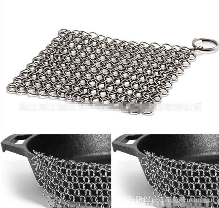 "8""x 8"" Stainless Steel 316L Cast Iron Cleaner Chainmail Scrubber Pre-Seasoned Dutch Ovens Waffle Iron Pans Cast Grill Scraper Skillet 4sizes"