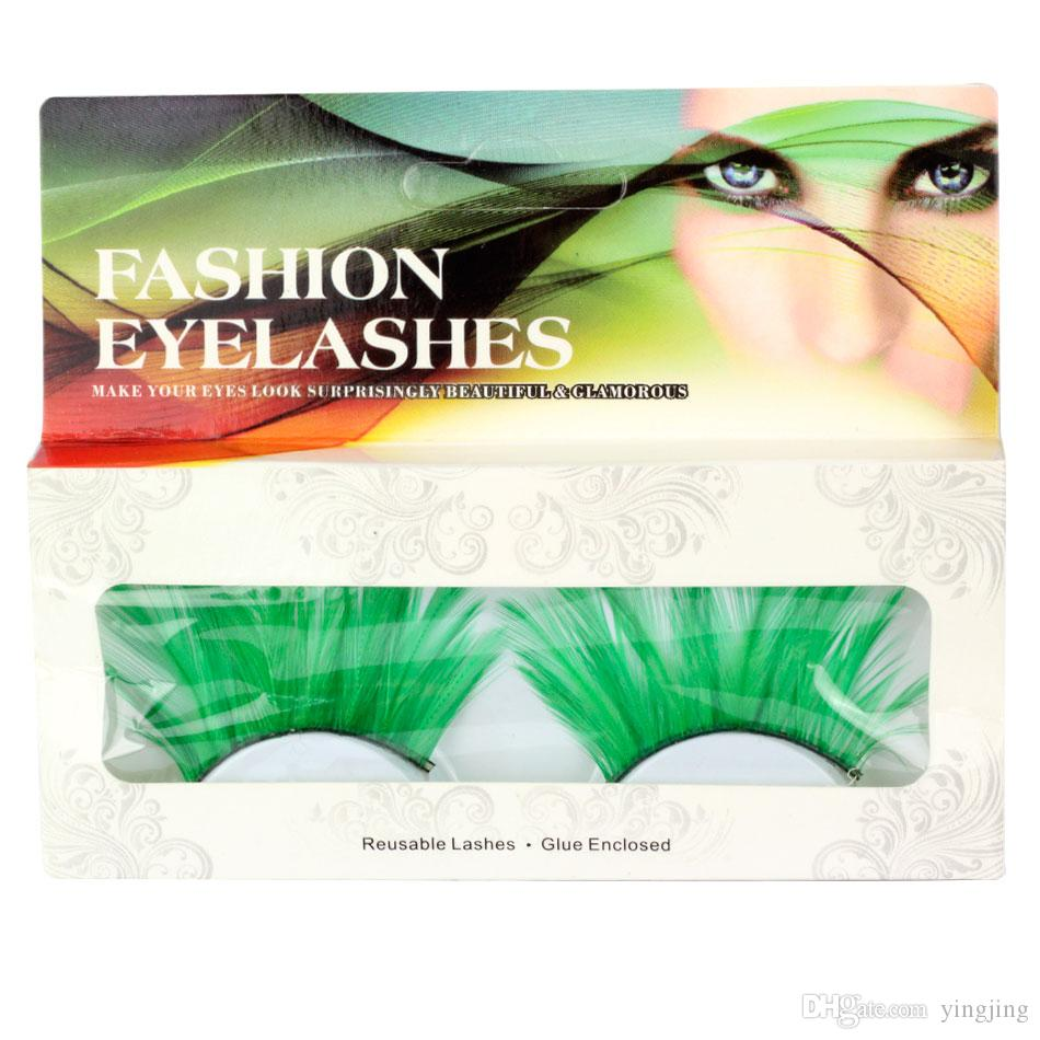 1 Pair / set of Green Long Feathers False Eyelashes For Prty Makeup or Exaggerated Models Eyelash Beauty Extension Tool