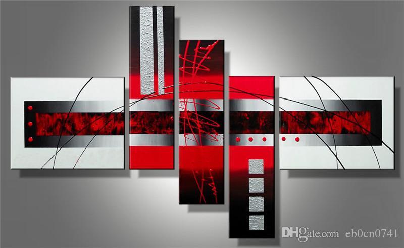 100% handgemalte Moderne Kunst Ölgemälde auf Leinwand abstrakt Amourösen Gefühle an der Wand 5 Stück / Set Bilder