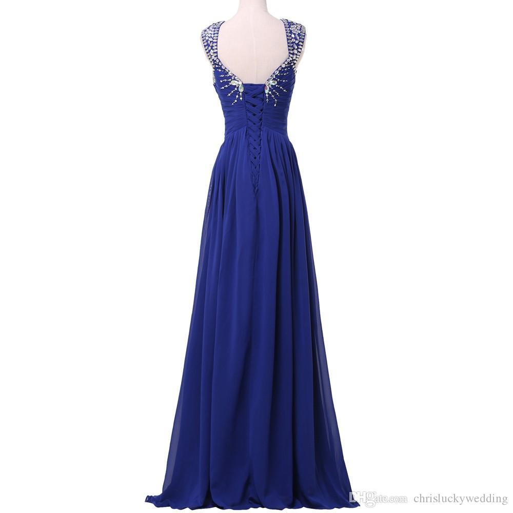 Großhandel Royal Blue 10 Abendkleider Lange Chiffon Abendkleider  Pailletten Kleid Prom Formal Guest Lange Party Plus Size Kleider Für  Besondere