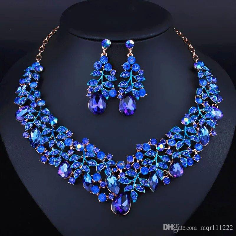 Simple style Africa Jewelry set royal blue noble Necklace Earrings ...