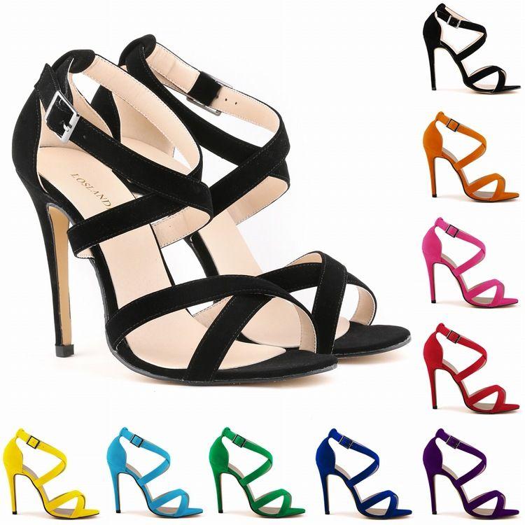 Ladies Women Shoes Girls Party Toe Bridal Patent Flock High Heels Shoes Suede Sandals Women US Size 4 5 6 7 8 9 10 11 D0022