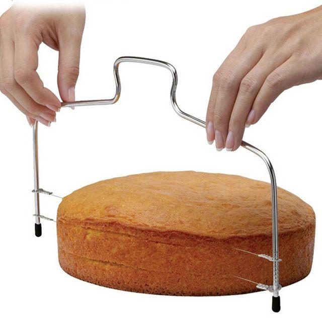 1 ADET Yeni Çift Hatlı Ayarlanabilir Pişirme Araçları DIY Kalıp Paslanmaz Çelik Kek Araçları Kek Ekmek Dilimleme Kesici Dizeleri Bıçak LB 123