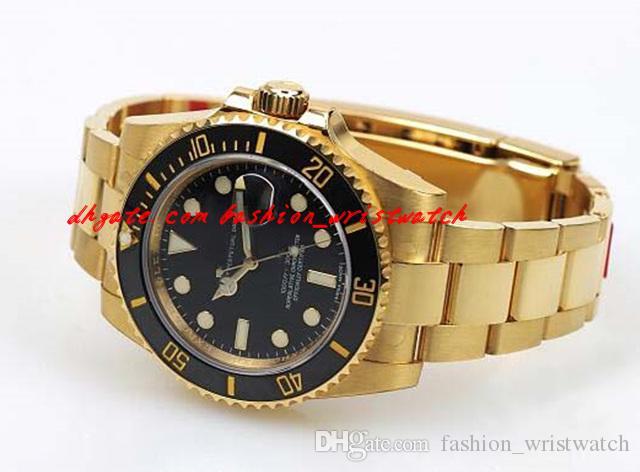 패션 럭셔리 손목 시계 세라믹 Cerachrom 18K 옐로우 골드 다이빙 시계 116618 낭포 된 기계식 망 시계 망 시계 최고 품질