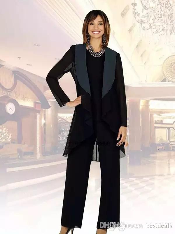 New Black Chiffon Mother of the Bride Suits Plus Size Cheap Three Pieces Mother of Bride Groom Pant Suit for Wedding Pant Suit