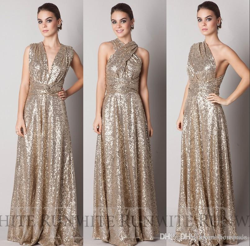 2016 Cheap Sparkly Convertiable Paillettes Oro Vestito da damigella d'onore Una linea di lunghezza del pavimento Lungo Custom Made Maid Of Honor Evening Prom Dress