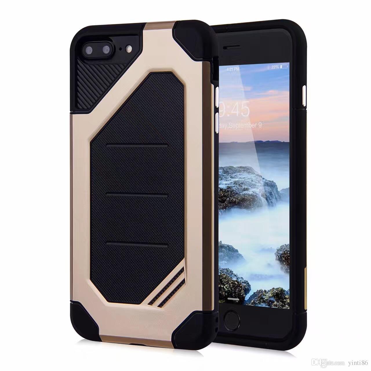 Pour Apple iPhone 7 Plus Samsung S8 Plus S7 Edge 2 en 1 Protection Antichute Armure Antichoc Dur TPU PC Couverture de Téléphone portable Cas