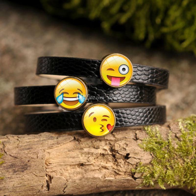 5PCS Creative Funny Emoji Charm Bracelet Glass Cabochon Art Picture Fashion Jewelry Black Leather bangle bracelet for Women Gift