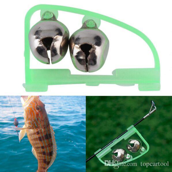 10pc Angelzubehör Rod Tipp Fisch beißen Doppelalarm Alarm Clip Bell Tool für Angelgerät Werkzeuge Nachtangler Glow in the dark