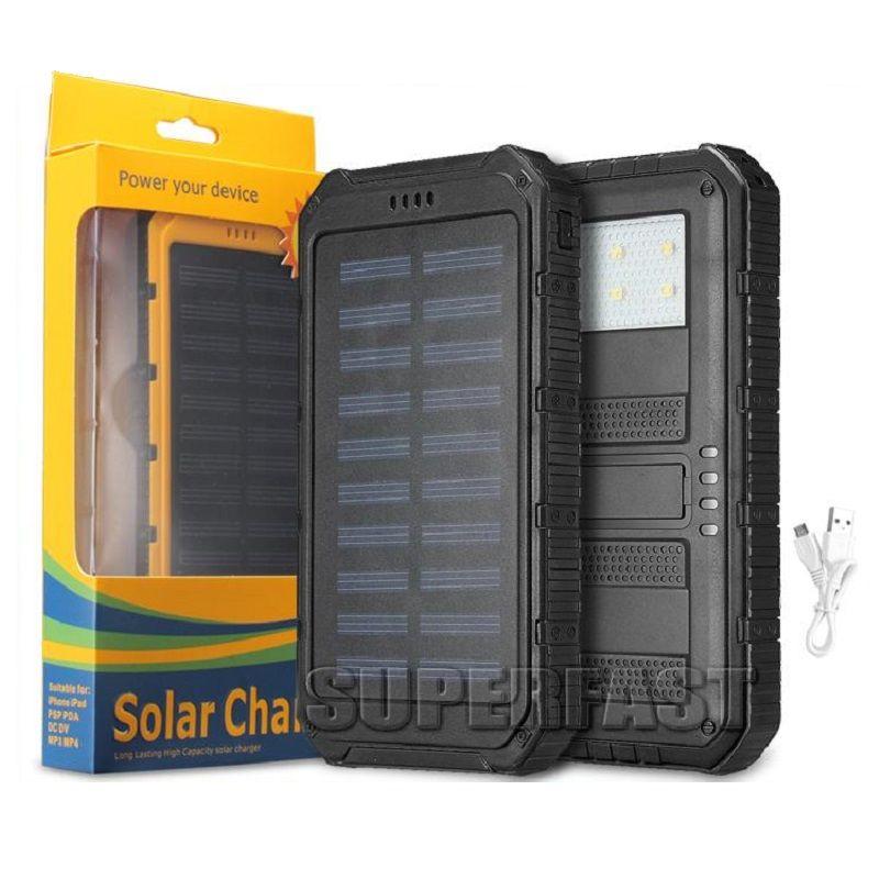Shockproof 4000 mAh 태양 열 충전기 은행 6000 mAh 휴대용 태양 전지 패널 8000 mAh 정품 태양 광 충전기 MP3 MP4 소매 패키지