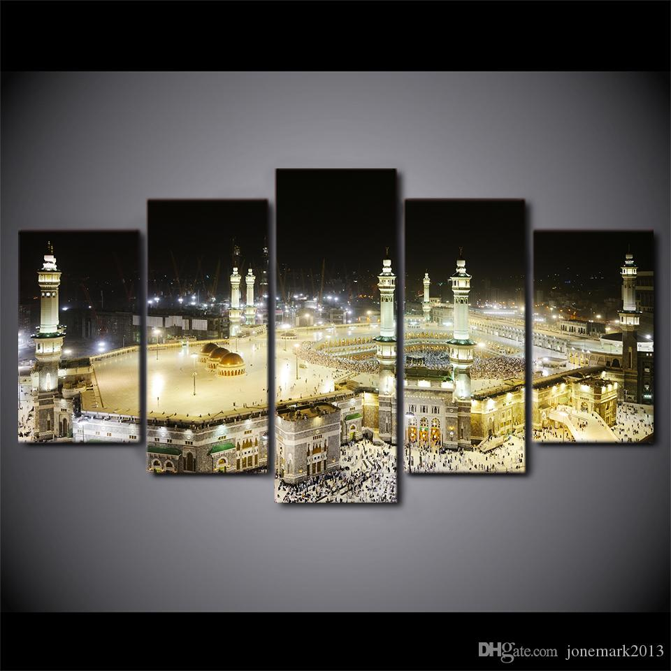 HD Printed 5 Piece canvas Art Islamic Churches Paintings Mosque Wall Pictures for Living Room Decor Free Shipping CU-1724A