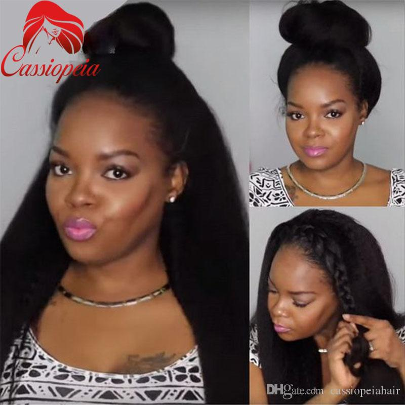 High Ponytail Kinky Straight Long Hair Full Lace Wigs For Black Women Glueless Lace Front Wig With Baby Hair Virgin Peruvian Human Hair