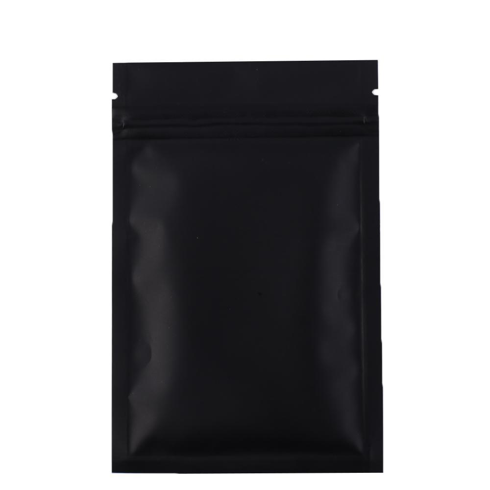 Alta calidad 100 bolsas con cierre zip X metálico Mylar fondo plano Negro del papel de aluminio pequeña zip lock bolsas de plástico