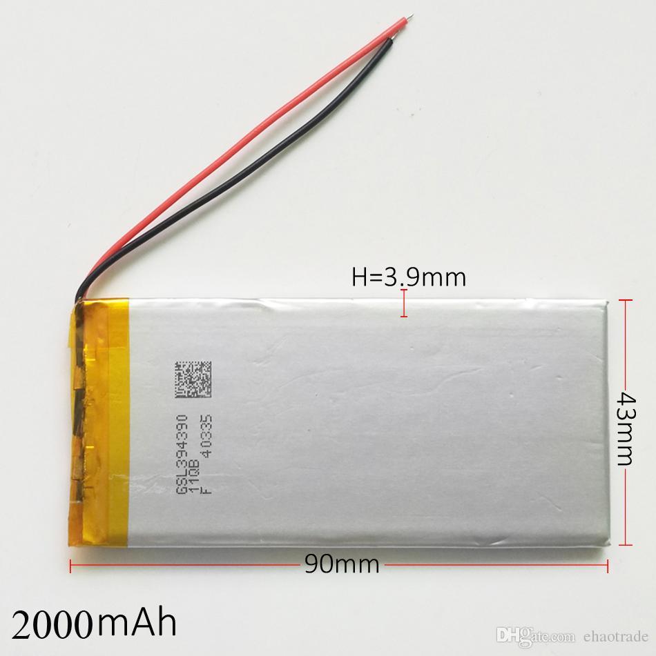 Model 394390 3.7 V 2000 mAh Polimer Li Lityum Şarj Edilebilir Pil li-po hücreleri DVD PAD GPS güç bankası Kamera Için değiştirin E-kitap Kaydedici